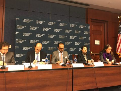L-R: Daniel Benaim, Senior Fellow, Center for American Progress, Mohamad Jawad Al Quraishy, Deputy Chief of Mission, Embassy of Iraq, Bilal Wahab, Senior Fellow, The Washington Institute, Bayan Sami Abdul Rahman, KRG Representative in the United States, Amy Austin Holmes, Fellow, Wilson Center
