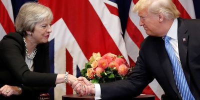 U.S. President Donald Trump greets Britain's Prime Minister Theresa May during a bilateral meeting on the sidelines of the 73rd session of the United Nations General Assembly in New York, U.S., September 26, 2018. REUTERS/Carlos Barria